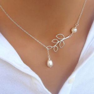 Pearl &  Leaf Silver Necklace/Choker